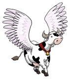 Latająca oskrzydlona krowa Obrazy Stock