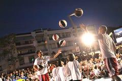 Latające koszykówki! Zdjęcia Royalty Free