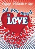 Latający czerwoni serca w valentines karcie. Wektor Ilustracja Wektor