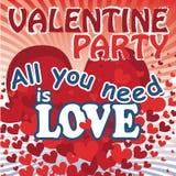 Latający czerwoni serca w valentines plakatowych. Wektor Ilustracji
