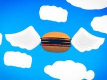 Latający hamburger Zdjęcie Royalty Free
