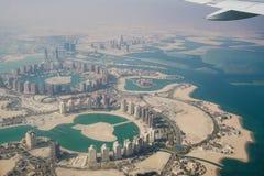 Latający nad Katar, Doha - Akcyjny wizerunek fotografia royalty free