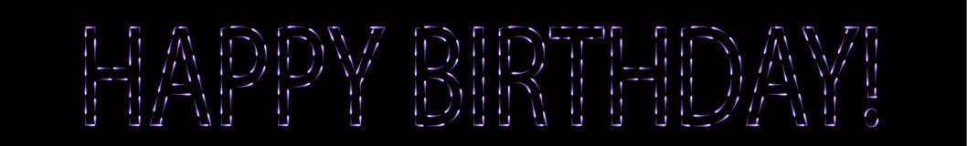 Latający ogienie robi purpurowemu wszystkiego najlepszego z okazji urodzin znakowi Zdjęcia Stock