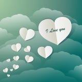 Latający Papierowi serca W rocznika niebieskim niebie Zdjęcie Stock