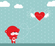 latający serce ilustracja wektor