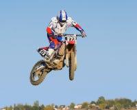 latający wysoki motorcyclew Fotografia Royalty Free