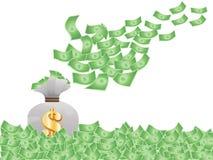 latający pieniądze Zdjęcie Stock