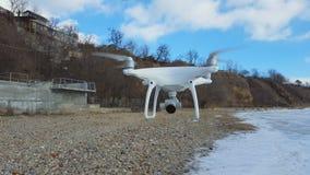 Latający trutnia quadcopter Dji fantom 4 z wysoka rozdzielczość cyfrową kamerą zbiory wideo