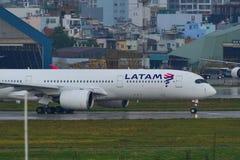 Latam Airbus A350-900 at Saigon Airport royalty free stock photography