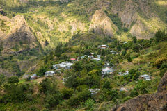 Lataniers small village in the cirque of Mafate Royalty Free Stock Images