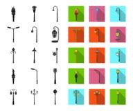 Latarni czerń, płaskie ikony w ustalonej kolekcji dla projekta Lampion i oświetleniowy wektorowy symbol zaopatrujemy sieci ilustr ilustracji