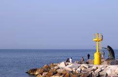 Latarni morskiej i kobiety Rimini lata pomnikowy sezon Fotografia Royalty Free