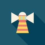 Latarni morskiej płaska ikona z długim cieniem Zdjęcia Stock