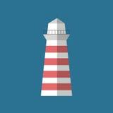 Latarni morskiej płaskiej ikony odosobniona wektorowa ilustracja Zdjęcie Royalty Free