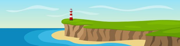 Latarni morskiej pozycja na falezie panorama Fotografia Stock