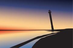 latarni morskiej sylwetka Fotografia Royalty Free