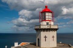 Latarnia morska Arnel, Nordeste, Azores wyspy Zdjęcia Royalty Free