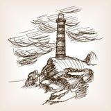 Latarnia morska budynku nakreślenia stylu ręka rysujący wektor Obrazy Stock