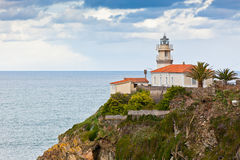 Latarnia morska Cudillero, Asturias, Północny Hiszpania Obrazy Royalty Free