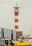 Latarnia morska cudzoziemski port morski Burgas w Bułgaria obrazy stock