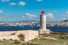 Latarnia morska dalej JEŻELI wyspa blisko Marseille, Francja obrazy royalty free