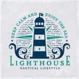 Latarnia morska emblemat Wektorowy nautyczny sztandar z grunge tłem ilustracja wektor