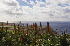 Latarnia morska, Farol da Ponta da Ferraria/, Azores, Portugalia Obrazy Royalty Free
