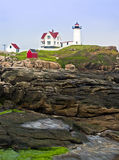 Latarnia morska i przylądka Neddick linia brzegowa zdjęcia royalty free