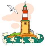 Latarnia morska i seagull Obrazy Stock