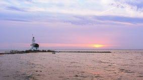 Latarnia morska koń Marken podczas wschodu słońca Obrazy Royalty Free