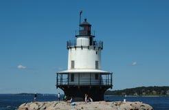 latarnia morska krawędzi to punktu Portland wiosna Obrazy Royalty Free