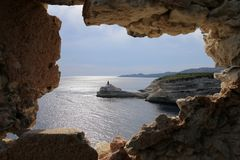 Latarnia morska los angeles Madonetta, Bonifacio, Corsica zdjęcia royalty free
