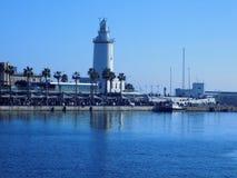 Latarnia morska Malaga port zdjęcia stock