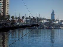 Latarnia morska Malaga port fotografia royalty free