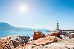 Latarnia morska morzem w Alanya, Turcja Obrazy Royalty Free
