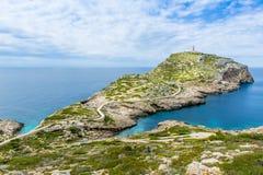Latarnia morska na Cabrera wyspy landscpae Zdjęcie Royalty Free