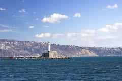 Latarnia morska na Czarnym morzu w Bułgaria 9 02 2018 Obrazy Stock