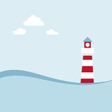 Latarnia morska na dennym krajobrazie. Fotografia Royalty Free