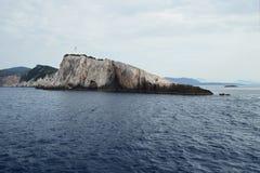 Latarnia morska na Lefkada przylądku - południowy punkt Lefkada wyspa, Grecja obrazy royalty free