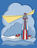 latarnia morska patchwork ilustracji