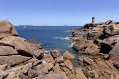 Latarnia morska Ploumanac ` h w Francja Zdjęcia Royalty Free