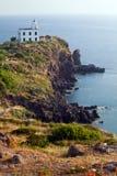 Latarnia morska przy Capraia wyspą Zdjęcia Royalty Free