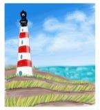 Latarnia morska przy dennym wybrzeżem i morzem Obraz Royalty Free
