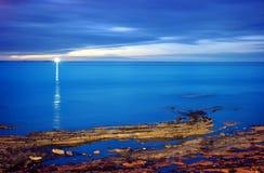 Latarnia morska przy półmrokiem, w długiego czasu ujawnieniu (Anglia) Obraz Stock