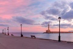Latarnia morska przy wschodem słońca, Chania, Crete, Grecja Obraz Royalty Free