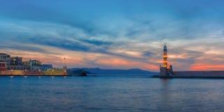 Latarnia morska przy zmierzchem, Chania, Crete, Grecja Obrazy Royalty Free