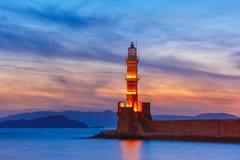 Latarnia morska przy zmierzchem, Chania, Crete, Grecja Zdjęcia Royalty Free