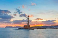 Latarnia morska przy zmierzchem, Chania, Crete, Grecja Zdjęcia Stock