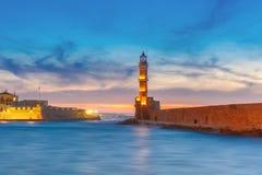 Latarnia morska przy zmierzchem, Chania, Crete, Grecja Zdjęcie Royalty Free
