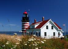 latarnia morska quoddy zachód Zdjęcie Stock